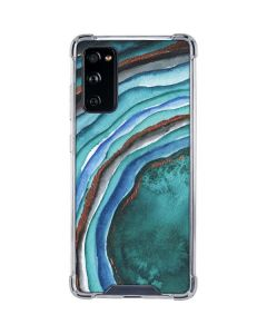 Turquoise Watercolor Geode Galaxy S20 FE Clear Case