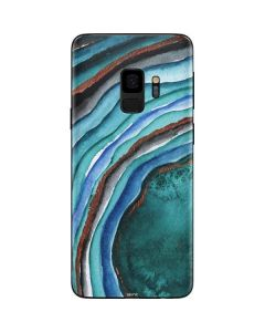 Turquoise Watercolor Geode Galaxy S9 Skin