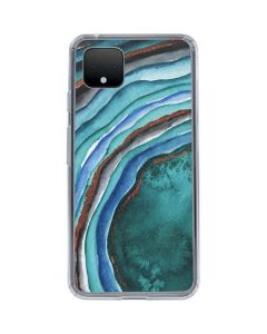 Turquoise Watercolor Geode Google Pixel 4 XL Clear Case