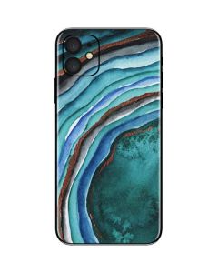 Turquoise Watercolor Geode iPhone 11 Skin
