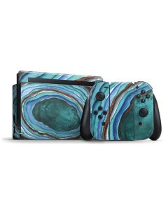 Turquoise Watercolor Geode Nintendo Switch Bundle Skin