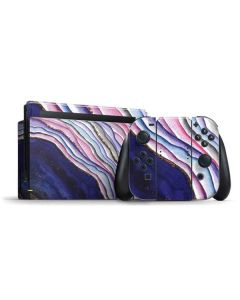 Violet Watercolor Geode Nintendo Switch Bundle Skin