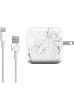 White Marble iPad Charger (10W USB) Skin