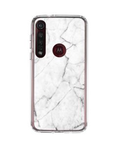 White Marble Moto G8 Plus Clear Case