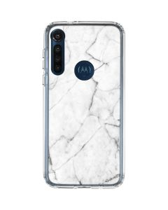 White Marble Moto G8 Power Clear Case