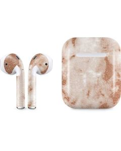White Rose Gold Marble Apple AirPods Skin