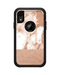 White Rose Gold Marble Otterbox Defender iPhone Skin