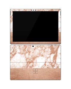 White Rose Gold Marble Surface Pro 7 Skin