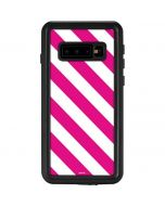 Pink and White Geometric Stripes Galaxy S10 Waterproof Case