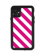 Pink and White Geometric Stripes iPhone 11 Waterproof Case
