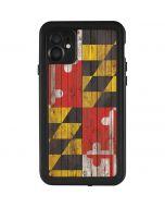 Maryland Flag Dark Wood iPhone 11 Waterproof Case