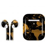 Black and Gold Scattered Marble Apple AirPods 2 Skin