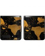 Black and Gold Scattered Marble Galaxy Z Flip Skin
