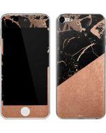 Black and Rose Gold Marble Split Apple iPod Skin