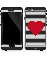 Black And White Striped Heart LifeProof Nuud iPhone Skin
