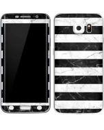 Black and White Striped Marble Galaxy S6 Edge Skin