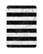 Black and White Striped Marble Apple iPad Pro Skin