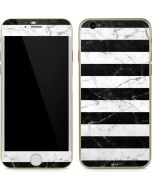 Black and White Striped Marble iPhone 6/6s Skin