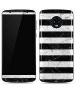 Black and White Striped Marble Moto G6 Skin