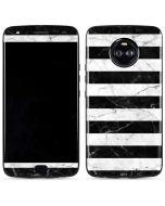 Black and White Striped Marble Moto X4 Skin