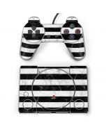 Black and White Striped Marble PlayStation Classic Bundle Skin