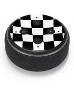 Black and White Zoomed Checkerboard Amazon Echo Dot Skin