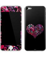 Black Swirly Heart Apple iPod Skin