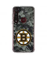 Boston Bruins Camo Moto G8 Plus Clear Case