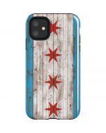 Chicago Flag Dark Wood iPhone 11 Impact Case