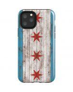Chicago Flag Dark Wood iPhone 11 Pro Impact Case
