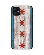 Chicago Flag Dark Wood iPhone 11 Skin