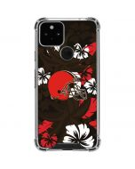 Cleveland Browns Tropical Print Google Pixel 5 Clear Case