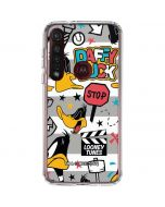 Daffy Duck Striped Patches Moto G8 Plus Clear Case