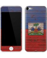 Haiti Flag Dark Wood Apple iPod Skin