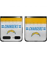 Los Angeles Chargers White Striped Galaxy Z Flip Skin