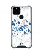 Los Angeles Dodgers - White Primary Logo Blast Google Pixel 5 Clear Case