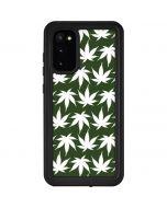 Marijuana Leaf White Pattern Galaxy S20 Waterproof Case