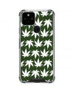 Marijuana Leaf White Pattern Google Pixel 5 Clear Case