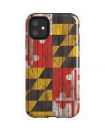 Maryland Flag Dark Wood iPhone 11 Impact Case