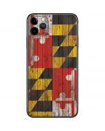 Maryland Flag Dark Wood iPhone 11 Pro Max Skin