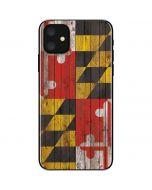 Maryland Flag Dark Wood iPhone 11 Skin