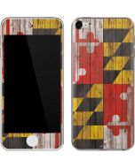 Maryland Flag Dark Wood Apple iPod Skin