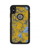 Mustard Yellow Floral Print Otterbox Commuter iPhone Skin