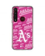 Oakland Athletics - Pink Cap Logo Blast Moto G8 Plus Clear Case
