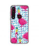 Party Flamingos Moto G8 Plus Clear Case