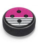 Pink and Grey Stripes Amazon Echo Dot Skin