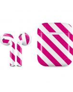 Pink and White Geometric Stripes Apple AirPods 2 Skin