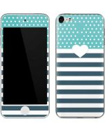 Polka Dots and Stripes Heart in Blue Apple iPod Skin
