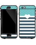 Polka Dots and Stripes Heart in Blue LifeProof Nuud iPhone Skin