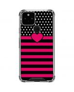 Polka Dots and Stripes Heart in Pink Google Pixel 5 Clear Case